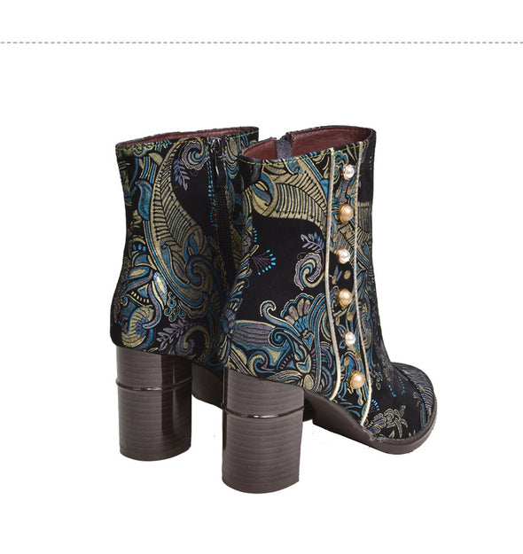 Stitching Zipper Ankle Leather Boots