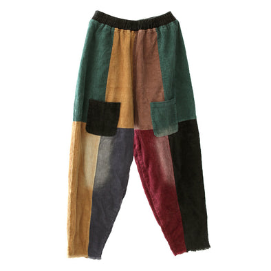 Colorful Stitching Casual Pants