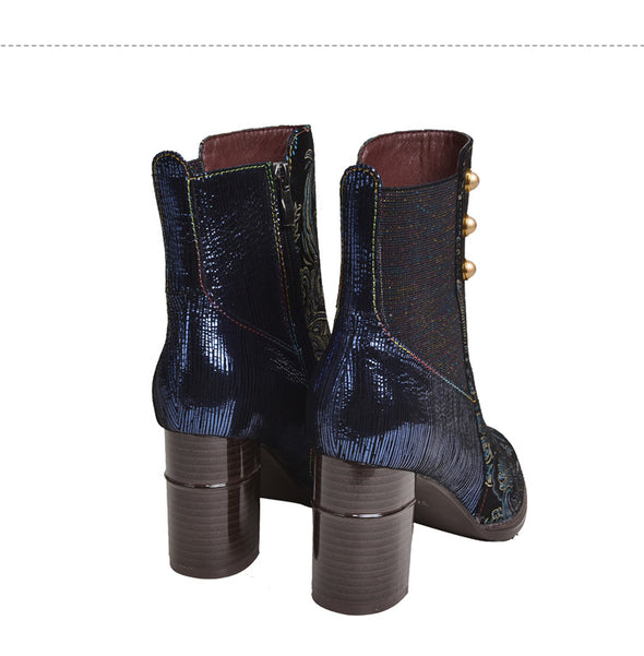 Stitching Splicing Chunky Heel Zipper Ankle Leather Boots