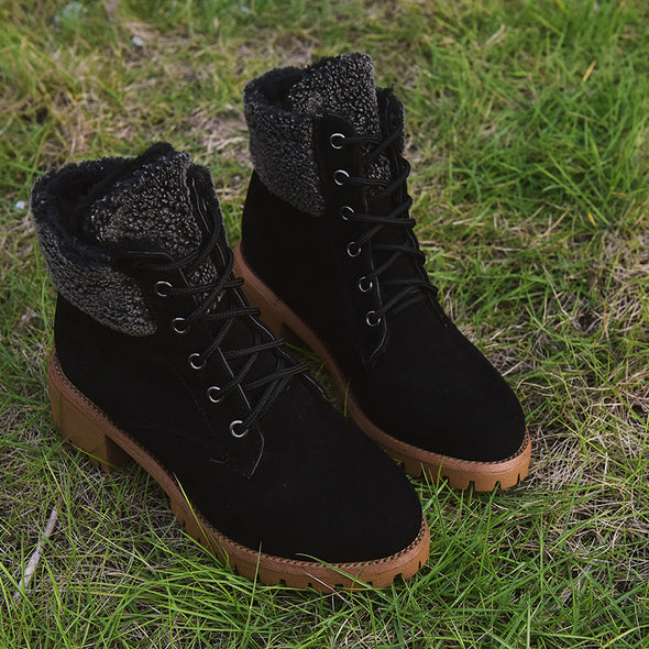 Suede Lace Up Booties