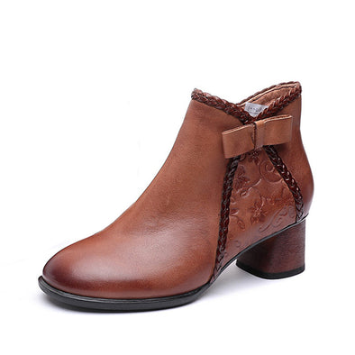 Retro Genuine Leather Warm Boots