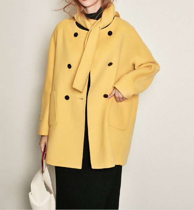 Fashion Woolen Coat with Scarf-3 Colors - coolbuyshopstore