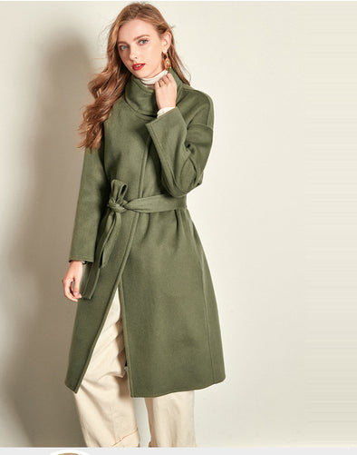 Fashion Woolen Coat-Green,Navy,Apricot