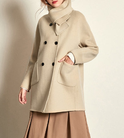 Fashion Woolen Coat with Scarf-3 Colors