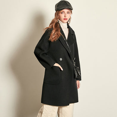 Women's 100% Wool Slim Coat--Black,Yellow,Apricot