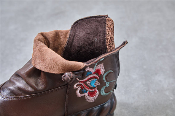 Leather Fashion Embroidered Handmade Thick Bottom Round Toe Women's Boots