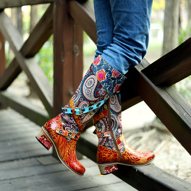 Vintage Ethnic Style Handmade Leather High Tube Boots - coolbuyshopstore