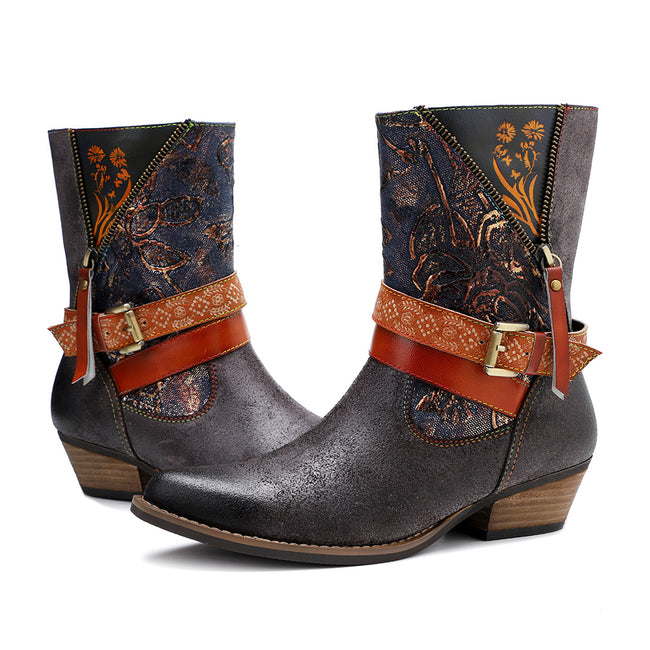 Leather Printed Retro Classic Cowboy Boots - coolbuyshopstore