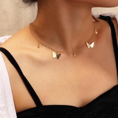 Pentagram Butterfly Clavicle Necklace