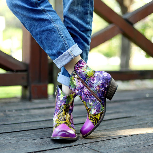Vintage Classic Print Handmade Boots - coolbuyshopstore