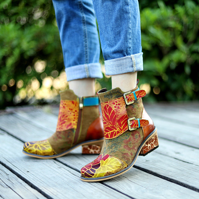 Women's Handmade Retro Style Leather Boots - coolbuyshopstore