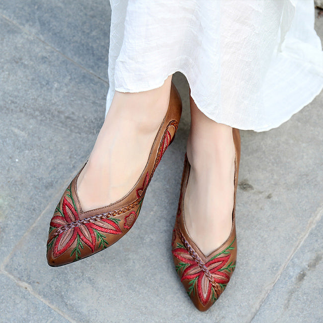 Vintage Embroidery Pointed Genuine Leather Women's Shoes - coolbuyshopstore