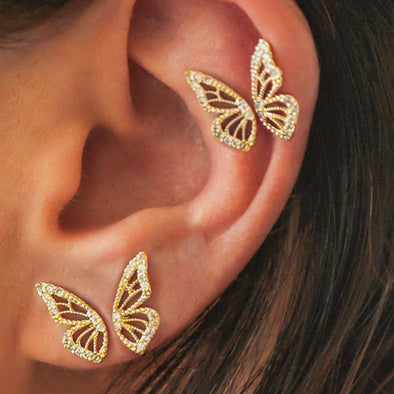 Metal Symmetrical Butterfly Stud Earrings