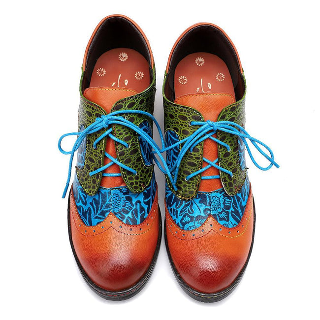 Spring Printed Stitching Retro Style Handmade Lace Up Shoes-Shoes-coolbuyshopstore
