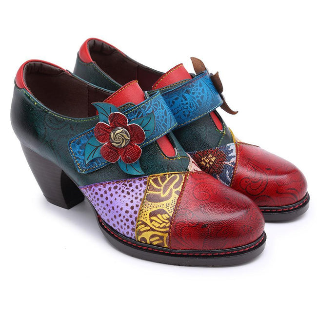 Pre-Order Handmade Retro Style Stitching Leather Pumps-Shoes-coolbuyshopstore