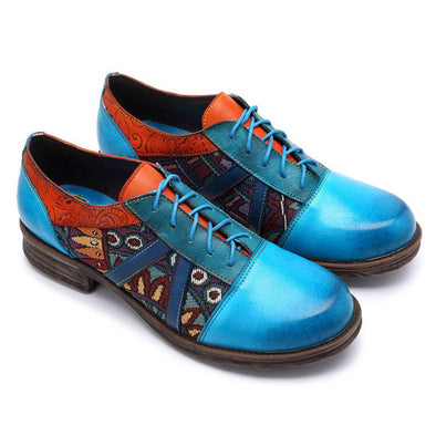 Casual Vintage Handmade Style Leather Fashion Blue Shoes