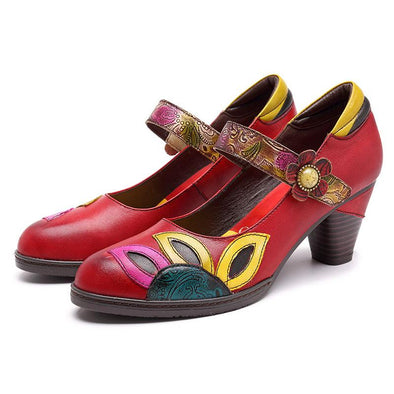 Colorful Leaf Pattern Leather Slip-on Shoes
