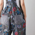 Vintage Embroidered Denim Casual Nine Percent Overalls Jumpsuit-Clothing-coolbuyshopstore