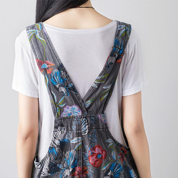 Vintage Embroidered Denim Casual Nine Percent Overalls Jumpsuit