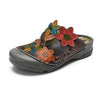 Flower Pattern Handmade Leather Comfortable Casual Sandals - coolbuyshopstore