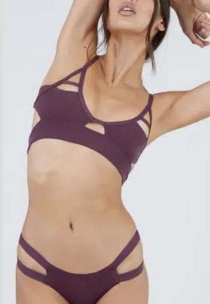 Cut Out Bikini Top Merlot Purple - coolbuyshopstore