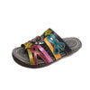 Ethnic Cowhide Hand-Painted Flat Heel Sandals - coolbuyshopstore