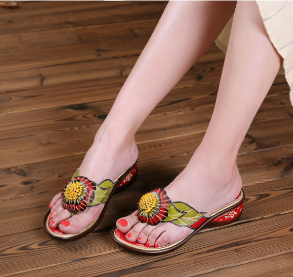 Comfortable Breathable Leather Wedge Slipper - coolbuyshopstore