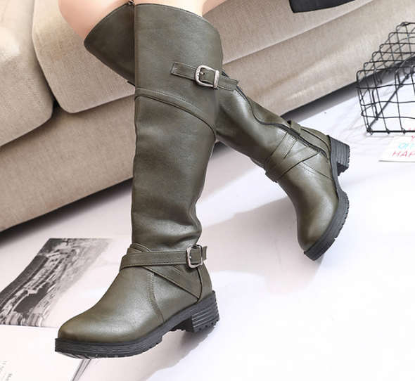European Fashion Autumn Winter New Belt Buckle Middle Boots