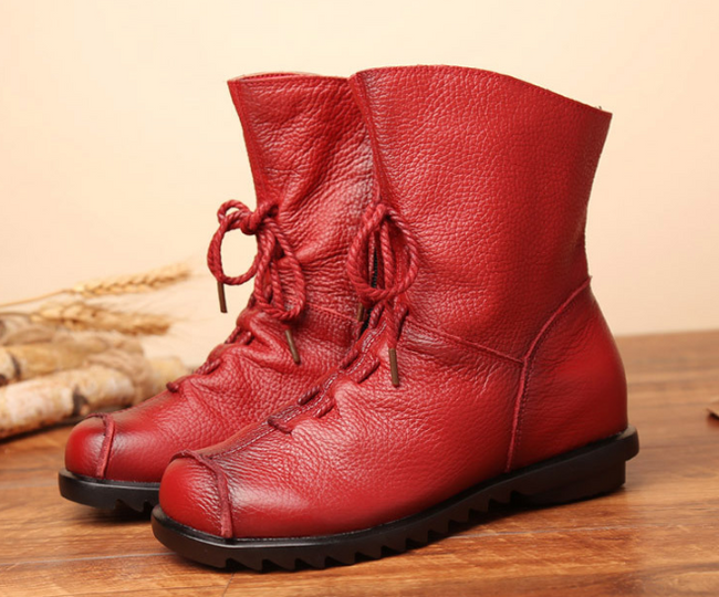 Vintage Original Leather Velvet Booties Warm Leather Boots - coolbuyshopstore