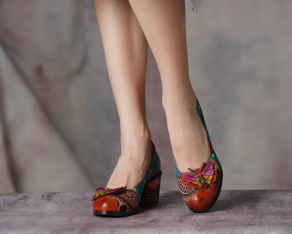 New Thick Heel Shoes Female Leather Ethnic Style Flower Shoes