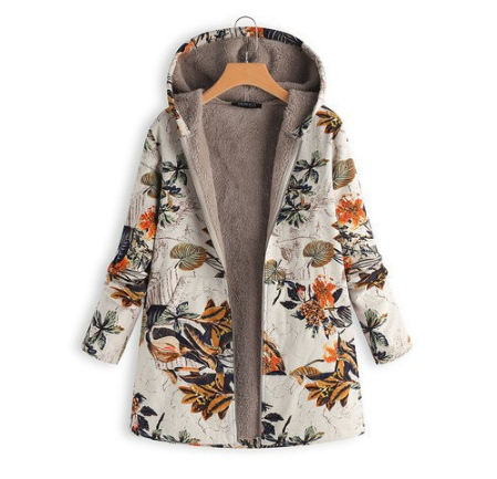 Warm Cotton Printed  Velvet Padded Coat - coolbuyshopstore