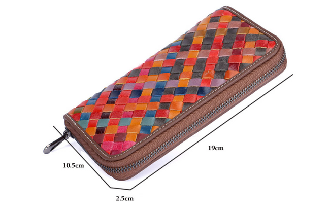 New Oil Wax Leather Braided  Ladies Large Capacity Long Wallet - coolbuyshopstore