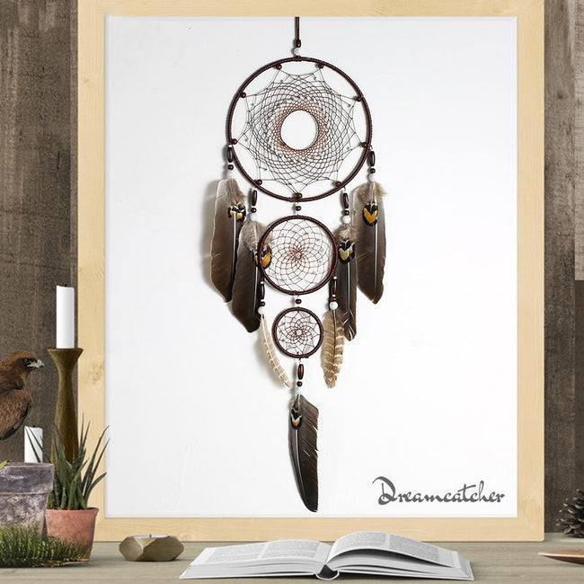 Eagle Feather Big Three Ring Indoor Pendant Dream Catcher Pendant - coolbuyshopstore