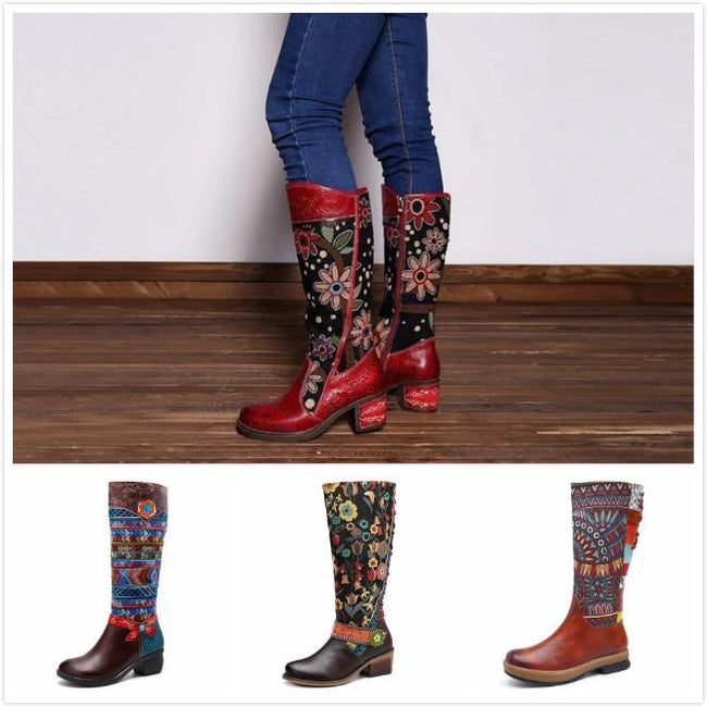 Bohemian Leather Block Heel Long Boots Exotic Pattern - coolbuyshopstore