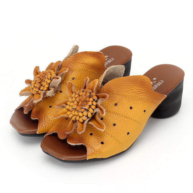 Genuine Leather Handmade Flower Comfortable Wedge Sandals-shoes-coolbuyshopstore