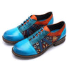 Casual Vintage Handmade Style Leather Fashion Blue Shoes - coolbuyshopstore