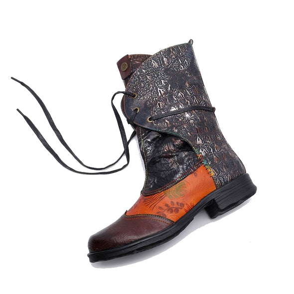 【LIMITED】Vintage Retro Stitching Craft Comfortable Mid Calf Boots