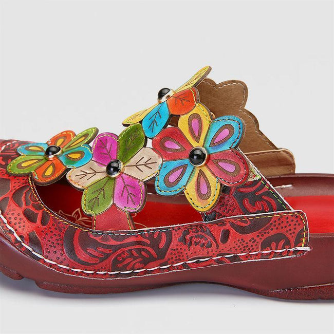 Retro Flower Pattern Handmade Leather Flat Round Head Comfortable Casual Sandals - coolbuyshopstore