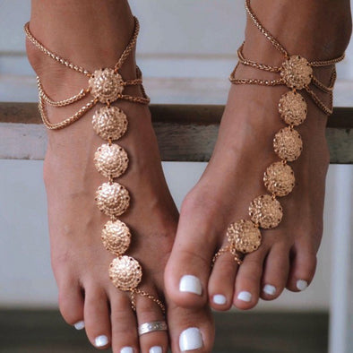 Carved Multi-layer Tassel Anklet