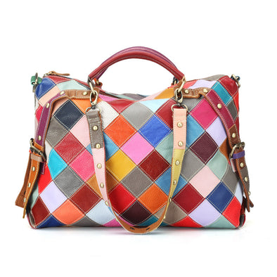 Cowhide Colorful Fashion Rivet Stitching Shoulder Bag