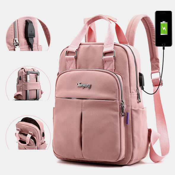 6 Colors-Women's Canvas Multifunction Waterproof Casual Backpack