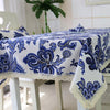 Classical Linen Thickened Tablecloth Blue and White Porcelain Pattern Tablecloth - coolbuyshopstore