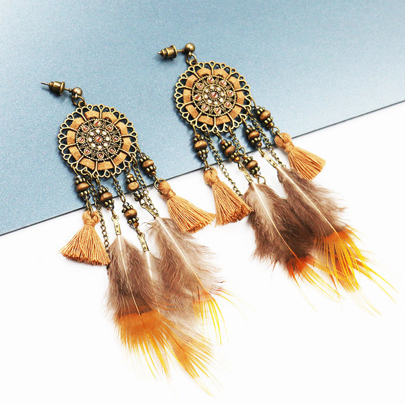 Feather Pendant Leather Wooden Beads Crystal Vintage Earrings