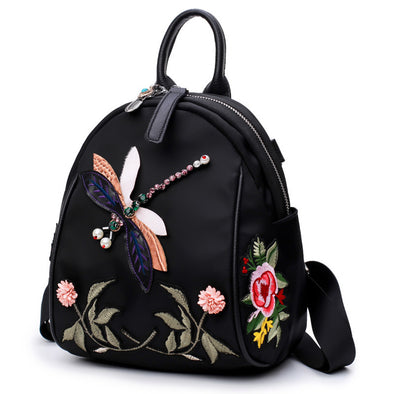 Embroidered Oxford Cloth Female Backpack