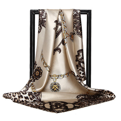 Women's Leopard Printed Square Satin Headscarf 35''x35''
