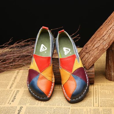 Women's Colorful Leather Flats