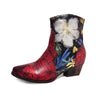 Floral Genuine Leather Handmade Comfy Boots - coolbuyshopstore
