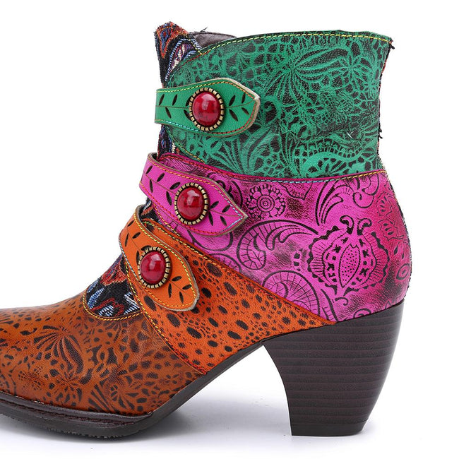 Genuine Leather Stitching Element Ankle Boots-Shoes-coolbuyshopstore