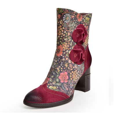 Fashion Flower Pattern Retro Leather Boots