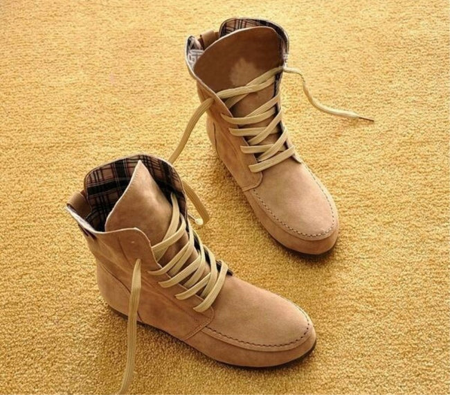 Women Flat Ankle Snow Motorcycle Boots - coolbuyshopstore